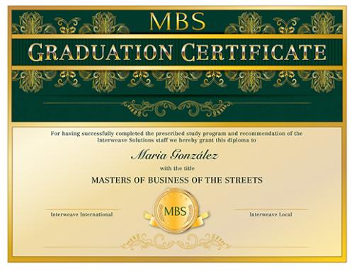 Interweave Solutions MBS Graduation Certificate