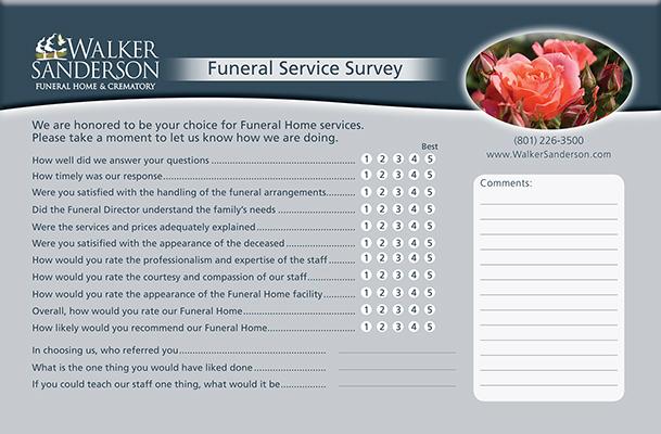 Walker Sanderson Funeral Home Survey Card Design