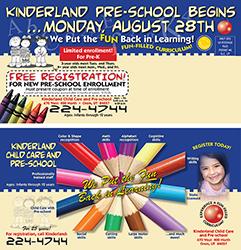 Kinderland Pre-School Postcard Design